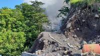 Kondisi Jalan sebulan pascaerupsi Gunung Karangetang (Liputan6.com/Yoseph Ikanubun)