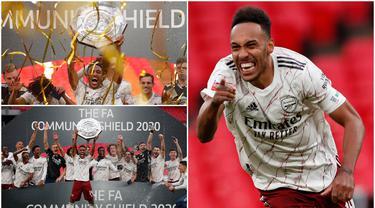 Striker Arsenal, Pierre-Emerick Aubameyang, menjadi pahlawan kemenangan Arsenal atas Liverpool saat menjuarai Community Shield 2020. Berikut ekspresi kebahagian Pierre-Emerick Aubameyang.