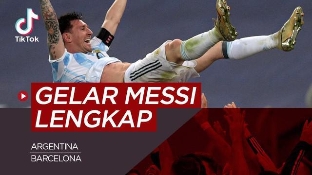 Berita video TikTok Bola.com Copa America 2021 melengkapi trofi yang didapat Lionel Messi.