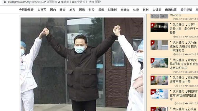 (Cek Fakta: Minum Air Putih 25 Liter per Hari, Pria Asal China Sembuh dari Virus Corona? (Screenshot/chinapress.com.my)