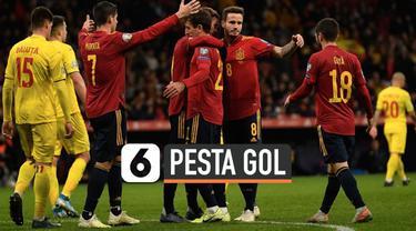 Pertandingan kualifikasi piala Eropa 2020 antara Spanyol melawan Rumania berjalan seru. Spanyol berhasil menghabisi Rumania 5-0.