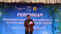 PLN Unit Induk Wilayah Sumatera Barat bersama dengan Bappenas dan Pemerintah Daerah Kepulauan Mentawai meresmikan Pembangkit Listrik Tenaga Biomassa (PLTBm) yang berlokasi di Pulau Siberut.