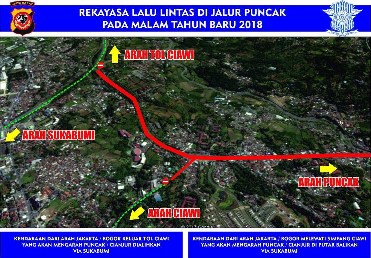 Berikut ini pengalihan arus lalu lintas di jalur Puncak, Bogor, Jawa Barat. (Polres Bogor)