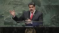 Presiden Venezuela Nicolas Maduro hadir secara mendadak di Sidang Umum PBB di New York, Rabu, 25 September 2018 (AP/Frank Franklin II)