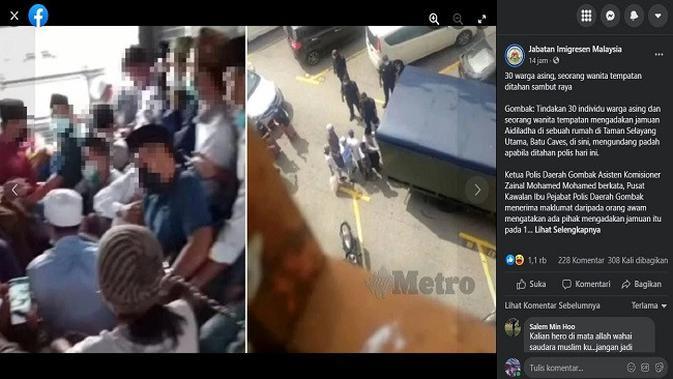 Gambar Tangkapan Layar Unggahan dari Akun Facebook  Jabatan Imigresen Malaysia.