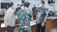 Wali Kota Semarang Hendrar Prihadi hadir di rapat evaluasi penanganan Covid-19.