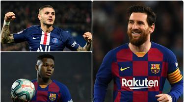 Lionel Messi menjadi salah satu pemain terbaik di dunia hasil jebolan akademi Barcelona. Selain Messi, ada beberapa pemain hebat lainnya hasil didikan akademi Barcelona. Berikut Lionel Messi dan 5 pemain hasil jebolan akademi Barcelona. (kolase foto AFP)