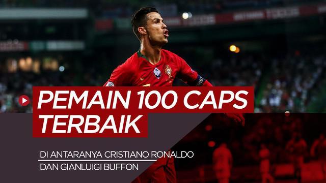 Berita motion grafis pemain timnas terbaik dengan 100 caps, Gianluigi Buffon hingga Cristiano Ronaldo.