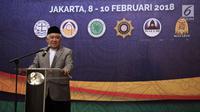 UKP-DKAP Din Syamsuddin saat memberikan sambutan dalam Musyawarah Besar Pemuka Agama untuk Kerukunan Bangsa di Jakarta, Kamis (8/2). Ada tujuh isu keagamaan yang akan dibahas dalam musyawarah pemuka agama kali ini. (Liputan6.com/Arya Manggala)