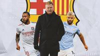 Barcelona - Ronald Koeman diapit Memphis Depay, Sergio Aguero (Bola.com/Adreanus TItus)