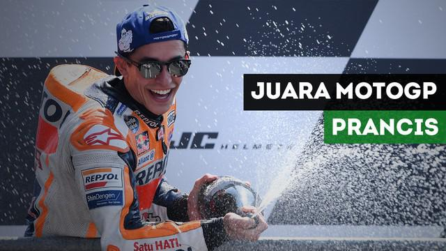 Pembalap Repsol Honda, Marc Marquez berhasil menjuarai MotoGP Prancis di Sirkuit Le Mans, Minggu (20/5/2018)