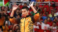 Ekspresi pebulutangkis Malaysia, Lee Chong Wei, saat berada di podium sebelum penyerahan medali nomor tunggal putra cabang bulutangkis Olimpiade Rio de Janeiro, Sabtu (20/8/2016). (EPA/Esteban Biba)