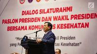 Calon Presiden nomer urut 02 Prabowo Subianto memberikan sambutan selama acara Dialog Silaturahmi Paslon Presiden dan Wakil Presiden bersama Komunitas  Kesehatan di Gedung Bidakara, Jakarta, Kamis (28/2). (Liputan6.com/Faizal Fanani)