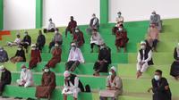 Anggota Jamaah Tabligh peserta Ijtimak Dunia dikumpulkan di GOR Tarakan. (Foto: Siti Hardiani)