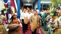 Menteri BUMN Rini Soemarno di Sentani, Jumat (12/1/2018) (Foto: Liputan6.com/Fiki A)