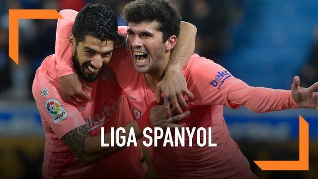 Kemenangan 2-0 yang diraih Barcelona saat melawan Alaves memperbesar peluang Barca jadi Juara Liga Spanyol musim ini. Dua gol dicetak Carles Arena dan Luis Suarez.
