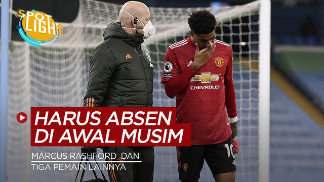 Berita video spotlight kali ini tentang empat pemain yang cedera dan harus absen pada awal musim, termasuk Ousmane Dembele dan Marcus Rashford.