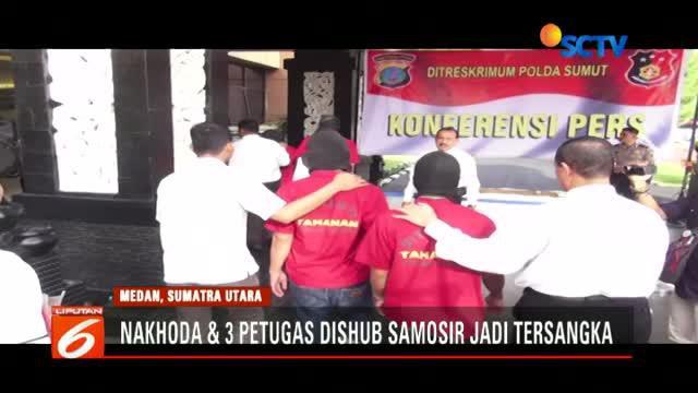 Polisi tetapkan satu nakhoda dan tiga petugas Dinas Perhubungan Kabupaten Samosir jadi tersangka kecelakaan KM Sinar Bangun.