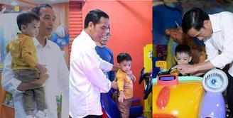 Sebelum menghadiri prosesi adat pernikahan istrinya, Kahiyang Ayu, Jokowi menyempatkan mengunjungi salah satu mal terbesar di Medan, Sun Plaza Mall. Selain melihat pertumbuhan ekonomi, ia juga momong cucunya, Jan Ethes Srinarendra. (Instagram/jokowipedia)