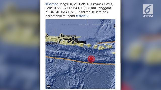 Bali diguncang gempa 5 SR pagi ini.