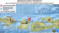 Peta gempa bumi yang kembali mengguncang Lombok Timur pada Minggu (19/8/2018). (Dok. PVMBG/Huyogo Simbolon)