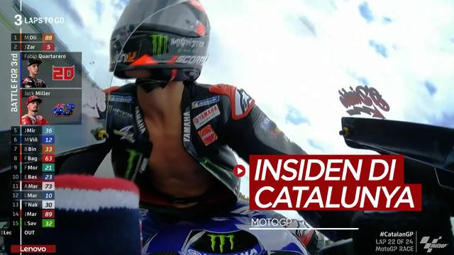 Berita video momen-momen menarik yang terjadi di MotoGP Catalunya 2021, salah satunya insiden baju balap Fabio Quartararo yang terbuka, Minggu (6/6/2021) malam hari WIB.