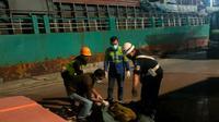 Korban Kecelakaan Kerja Di Pelabuhan Krakatau Bandar Samudera, Kota Cilegon, Banten. (Rabu, 19/05/2021). (Dokumentasi KSKP Banten).