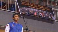 Agus Harimurti Yudhoyono kembali tampil di hadapan publik. Agus datang menggantikan sang Ayah untuk membuka Asia Karate Championship SBY Cup 14 tahun 2017 (Liputan6.com/Helmi Affandi)