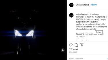United Bike Siap Hadirkan Motor Listrik 12 November 2020 (Ist)