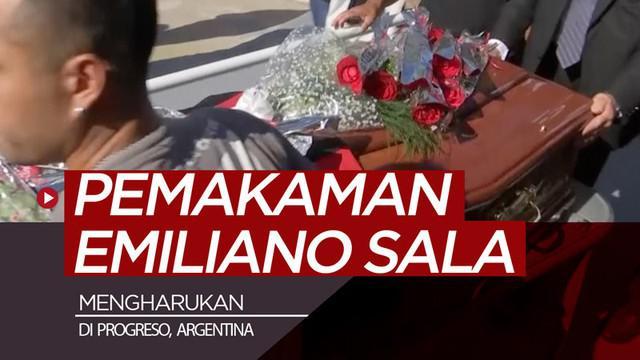Berita video pemakaman jenazah striker Cardiff City, Emiliano Sala, dengan proses kremasi berlangsung mengharukan di kota kecil Progreso, Argentina, Sabtu (16/2/2019).