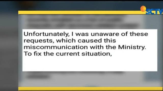 Melalui akun miliknya Durov meminta maaf kepada pemerintah Indonesia karena melewatkan permintaan pemerintah Indonesia tutup akun teroris.
