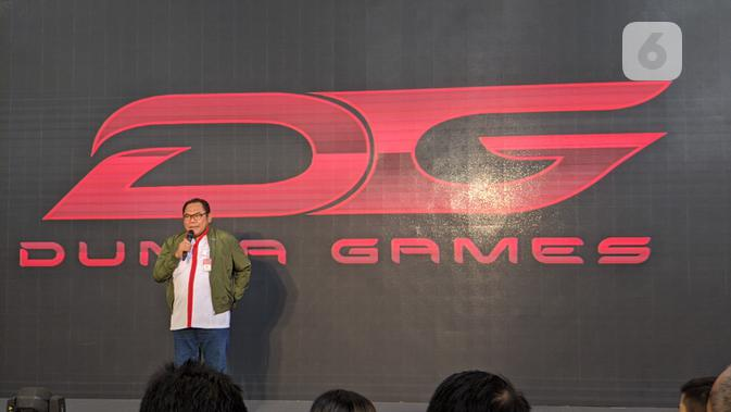 Sekretaris Deputi Peningkatan Prestasi Olahraga, Aris Subiyono, saat jumpa pers acara Dunia Games League 2020 di Jakarta, Kamis (12/12/2019). (Liputan6.com/ Yuslianson)