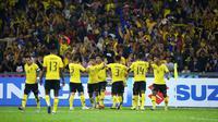 Para pemain Malaysia saat merayakan gol ke gawang Myanmar pada laga pamungkas Grup A Piala AFF 2018. (AFF Suzuki Cup)