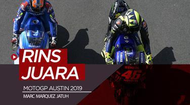 Berita video hasil balapan MotoGP Austin 2019 di mana Marc Marquez jatuh dan Alex Rins menangi duel dengan Valentino Rossi, Minggu (14/4/2019).
