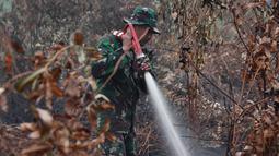 Prajurit TNI berusaha memadamkan kebakaran hutan dan lahan di Kabupaten Kampar, Provinsi Riau (12/9/2019). Kebakaran hutan yang terjadi menyebarkan kabut asap di Asia Tenggara. (AFP Photo/Adek Berry)