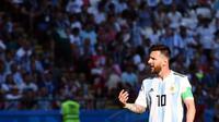 Reaksi Kapten Timnas Argentina, Lionel Messi pada laga 16 Besar Piala Dunia 2018, di Kazan Arena, Sabtu (30/6/2018) malam WIB. (AFP/Franck Fife)
