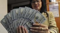 Petugas menunjukkan uang dolar AS di gerai penukaran mata uang di Ayu Masagung, Jakarta, Senin (13/8). Pada perdagangan jadwal pekan, senin (13/08). Nilai tukar rupiah terhadap dolar AS menyentuh posisi tertingginya Rp 14.600. (Merdeka.com/Arie Basuki)