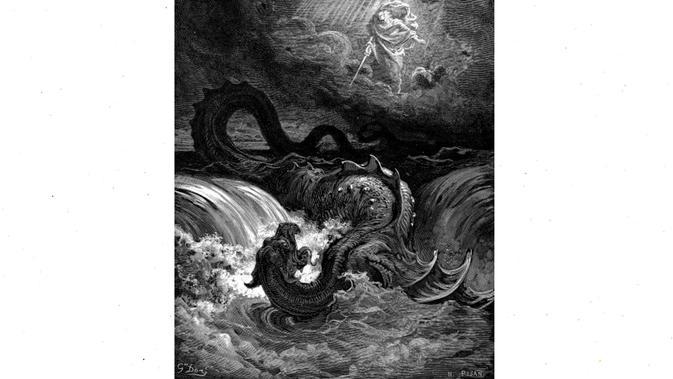 Ilustrasi The Destruction of Leviathan oleh Gustave Doré (1865) (Public Domain)