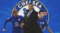 Chelsea - Timo Werner, Andriy Shevchenko, Christian Pulisic (Bola.com/Adreanus Titus)