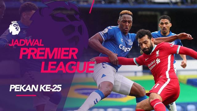 Berita motion grafis jadwal Liga Inggris 2020/2021 pekan ke-25, Liverpool Hadapi Everton di Anfield.