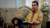 Menteri Perdagangan, Agus Suparmanto memberikan sambutan acara pembukaan rapat kerja Kementerian Perdagangan 2020 di Istana Negara, Jakarta, Rabu (4/3/2020). Raker Kementerian Perdagangan ini dibuka oleh Presiden Joko Widodo (Jokowi) secara simbolis dengan memukul gong. (Liputan6.com/Faizal Fanani)
