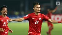 Bek Persija, M Rezaldi Hehanusa berlari merayakan gol yang dicetaknya ke gawang Tampines Rovers pada penyisihan grup H Piala AFC 2018 di Stadion GBK, Jakarta, Rabu (28/2). Persija unggul 4-1. (Liputan6.com/Helmi Fithriansyah)