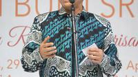 Ketua MPR, Zulkifli Hasan memberikan sambutan pada acara Festival Putri Bumi Sriwijaya (PBS) yang diselenggarakan oleh Indonesia Tionghoa di Jakarta, Kamis (29/3). (Liputan6.com/Pool/Agus)