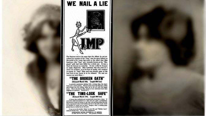 Iklan yang membantah kematian Florence Lawrence sekaligus mengumumkan perannya dalam film The Broken Oath (Public Domain)