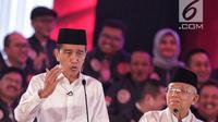 Capres dan Cawapres nomor urut 01 Joko Widodo-Ma'ruf Amin memaparkan visi misi di Debat Capres Pilpres 2019 pertama di Jakarta, Kamis (17/1). Debat perdana ini mengangkat tema hukum, hak asasi manusia, terorisme, dan korupsi. (Liputan6.com/Faizal Fanani)