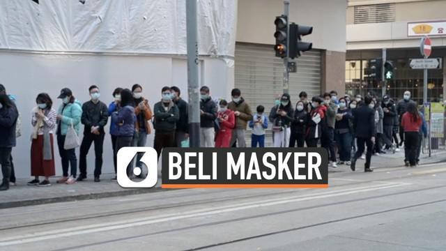 Ratusan rela mengantri untuk membeli masker guna mencegah tertular virus corona. Peristiwa ini terekam video terjadi di area Liverpool, Inggris dan Hong Kong.