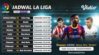 Pertandingan lengkap Liga Spanyol pekan ke-12 dapat disaksikan melalui platform streaming Vidio. (Dok. Vidio)