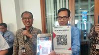 Simulasi penggunaan QRIS yang digelar saat Media Gathering Bank Indonesia di Palembang (Liputan6.com / Nefri Inge)
