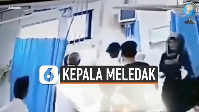 Seorang wanita dilaporkan sakit akibat mengkonsumsi racun dan segera dibawa ke Rumah Sakit di India. Namun, saat akan dilakukan operasi oleh dokter, kepala pasien tersebut tiba-tiba mengeluarkan asap dan meledak.