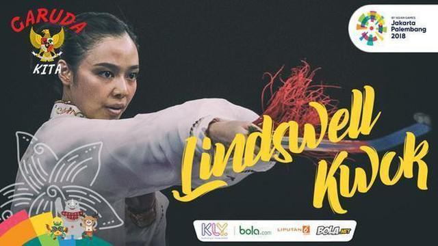 Lindswell Kwok mempersembahkan emas kedua bagi Indonesia di Asian Games 2018 setelah memenangi lomba nomor Taijiquan di JIExpo, Kemayoran Jakarta, Senin (20/8/2018).
